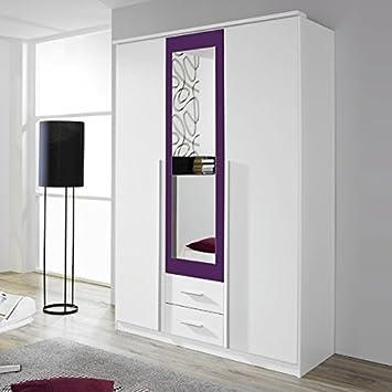 Kleiderschrank weiß / lila 3 Türen B 136 cm brombeer Schrank ...