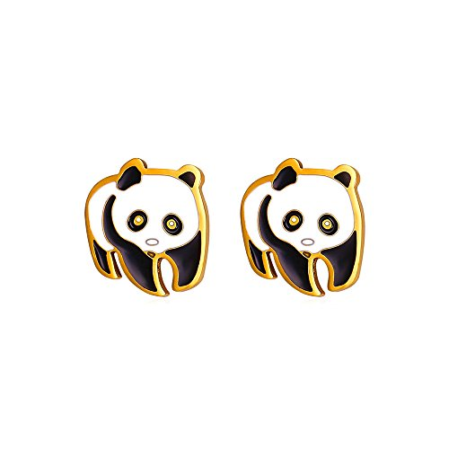 U7 Women Girls 18K Gold Plated Cute Panda Stud Earrings