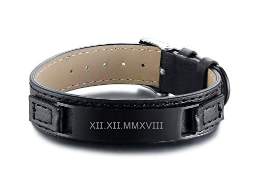 PJ Jewelry Personalized Customized Men's Genuine Leather Nameplate Wristband Stainless Steel ID Bracelet,Adjustable ()