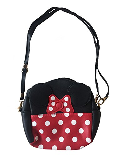 (Minnie Mouse Style Polka Dots Girl Mini Handbag Purse with Handle and Additional Shoulder Strap (Black and Red))