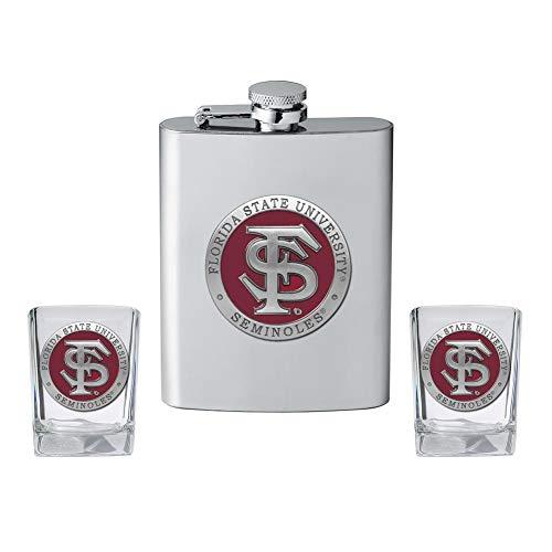 Heritage Metalwork FSU Florida State University Flask and 2 Shot Glass Set Liquor -