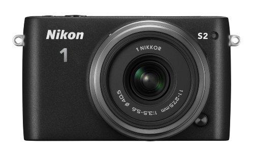 Nikon 1 S2 Systemkamera (14 Megapixel, 7,5 cm (3 Zoll) LCD-Display, Wi-Fi-fähig, USB, HDMI, Full-HD-Videofunktion) Kit inkl. 1 Nikkor 11-27,5mm Objektiv schwarz