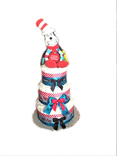 Cat in the Hat Baby Shower Diaper Cake/ Centerpiece (3 Tier)