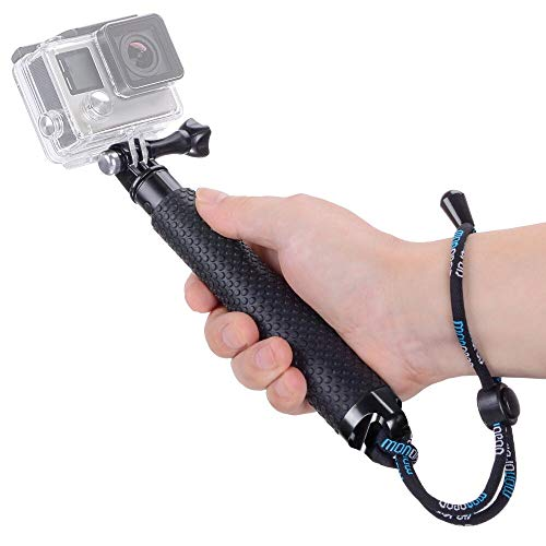 Vicdozia Extendable Selfie Stick, Waterproof Hand Grip Handle Monopod Adjustable Pole Compatible with GoPro Hero 7 6 5 4 3+ 3 Session AKASO SJCAM Xiaomi Yi DJI OSMO Action and More Sports Cameras