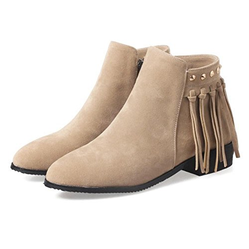 Zipper Fashion Bootie Side KemeKiss Women Apricot 1 xqSABIB