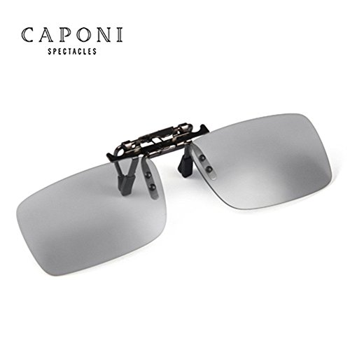 CAPONI Polarized Photochromic Lens Sunglasses Day and Night Driving Semi Frame Photosensitive Sunglasses for Men 1287 - Photosensitive Sunglasses