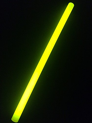 "Glow With Us Glow Sticks Bulk Wholesale, 10 12"" 15mm Dia. Yellow Industrial Grade Jumbo Light Sticks, Bright Color, Glow 14 Hrs, Safety Glow Stick 3yrs Shelf Life, Ideal Camping & Emergency, Brand"
