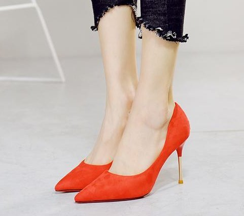 Wedding Shallow 8Cm Heels Work Red 35 Suede Simple Fine Sexy Leisure Single Elegant Shoes Spring Heel Lady Sharp Shoes MDRW Mouth 10q7HwUp1W