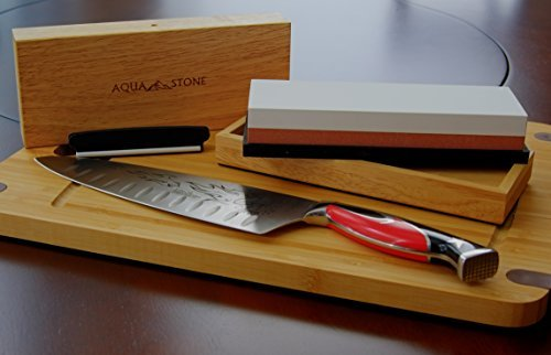 Professional Knife Sharpener 2 Side Sharpening Stone Kit For Chefs, Home Kitchen Knives.Whetstone Grit 1000/6000 Watersone,NonSlip Wood Base, FREE Angle Guide, Silicone Base with Stylish Wood GIFT Box by Aquastone (Image #9)