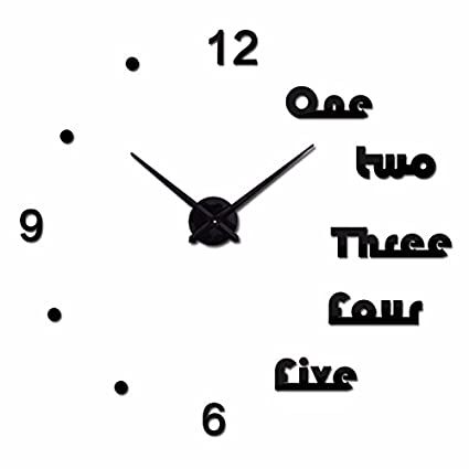 Amazon.com: HUAGNYAHUI wall clock A Large Diy Digital Clock Hanging Living Room Decorative Wall Stickers Art Clock Clock,Black: Home & Kitchen