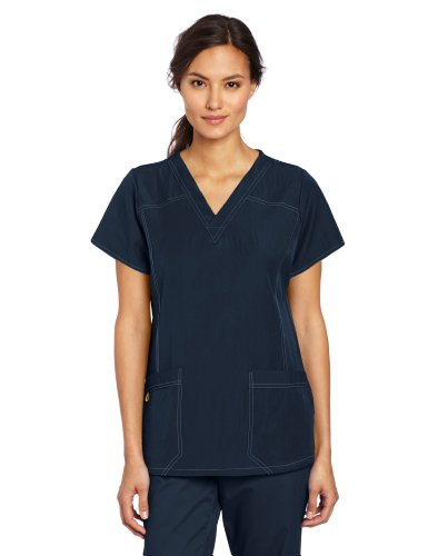 WonderWink Women's Scrubs Four Way Stretch Sporty V-Neck Top, Navy, XX-Large