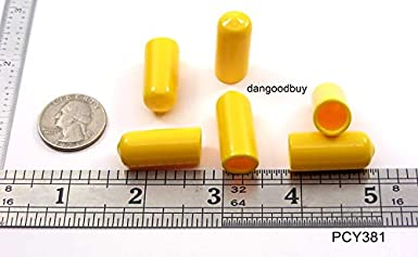 Inside Height 3//8 Pkg of 6 Yellow Vinyl Flexible Round Cap 1 Inside Diam