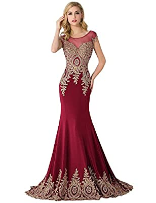 MisShow Women's Mermaid Prom Dresses 2017 Applique Evening Gowns For Women Formal