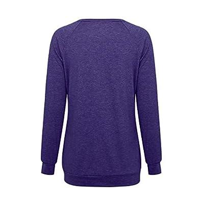 Tooklanet Camiseta Mujer Bolsillo Manga Larga con Botón Blusa Camisa Cuello Redondo Basica Camiseta Verano Tops Casual: Ropa y accesorios