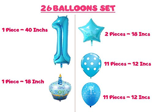 1st Birthday Blue Boy Balloons