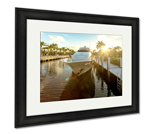 Ashley Framed Prints Fort Lauderdale Canals In Las Olas Boulevard Florida USA, Wall Art Home Decoration, Color, 26x30 (frame size), Black Frame, - Florida Boulevard Olas Las
