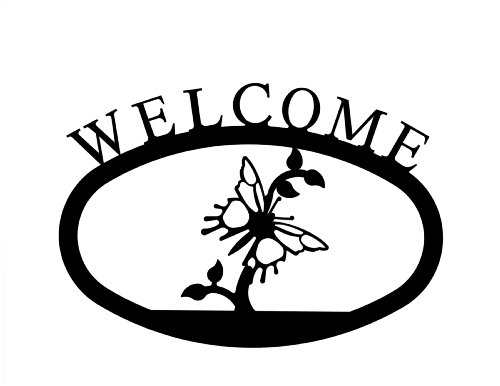 Village Wrought Iron WEL-44-L Large Pineapple Welcome Sign - Wrought Iron Pineapple