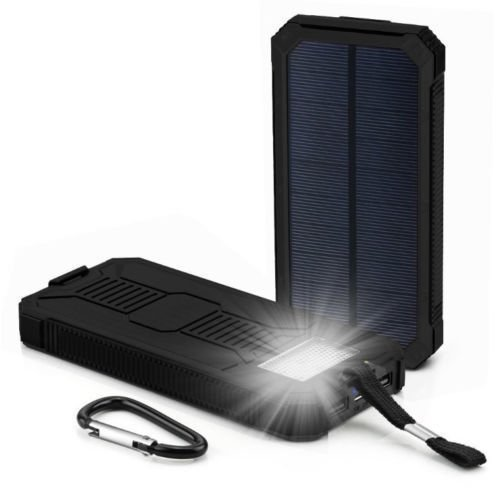 Waterproof 300000mAh Portable Solar Charger Dual USB Battery Power Bank F Phone#Black