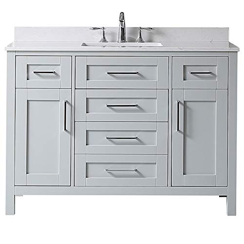 Ove Decors Tahoe 48G Marble Top Bathroom Single Sink Vanity, 48-Inch by 21-Inch, Dove Gray