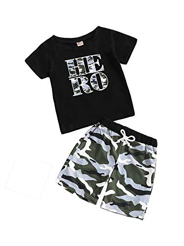 Baby Boy Clothes Short Sleeve Black T-Shirt + Camo Pants Toddler Outfits Set Black 3-Hero(9-12 Months) ()