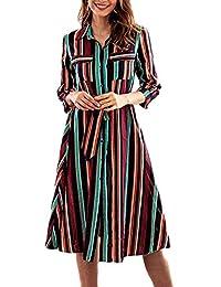 Miaohao Womens Casual Loose Fit A Line Vestido de Midi de la raya abajo del botón