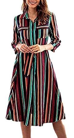 Miaohao Womens Casual Loose Fit A Line Vestido de Midi de la raya abajo del botón (Color : 1, tamaño : Pequeña)