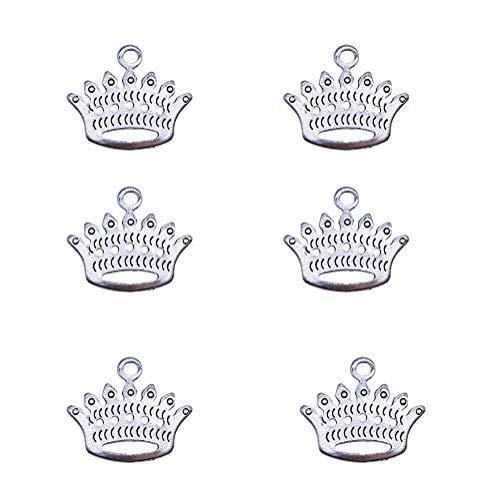 (100g Antique Silver Plated Crown Charms Pendant Bracelets Necklace Jewelry Findings Jewelry Making Craft DIY 20mmx19mm (a-1056, 100g))