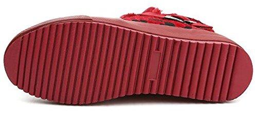 Summerwhisper Femmes Léopard Chaud Simili Daim Boucle Ceinture Cheville Haut Sneakers Plate-forme Appartements Polaire Doublé Bottes De Neige Rouge