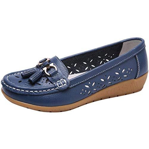 Scuro 5 Uk Dimensione A Da Punta Flat Nappe Bianca E colore Con Tonda Shoe Mocassini Fibbia Piatte Blu Donna ccqRf1