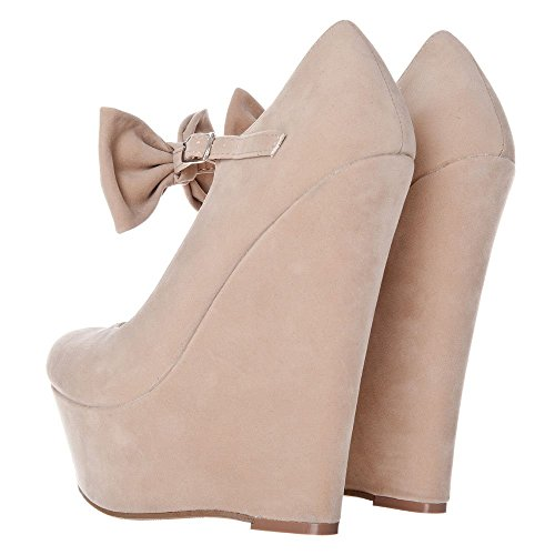 Ladies Wedge Strap Womens Soft High Bow Toe Platform Curved Trim Nude qSSzrBtw
