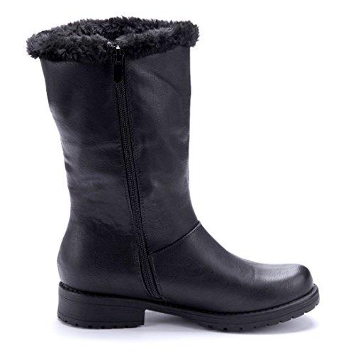 Schuhtempel24 Damen Schuhe Klassische Stiefel Stiefeletten Boots Blockabsatz Zierschleife/Used Look 3 cm Schwarz