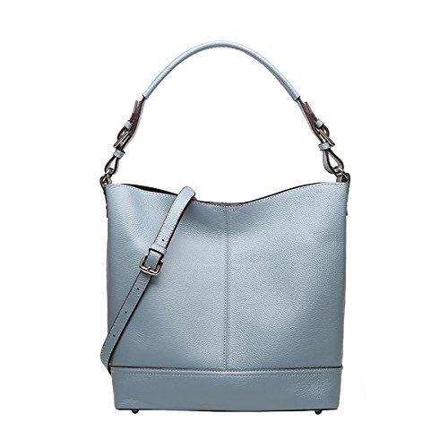 hombro mujer de Piel Girl Azul Lisa Medium al Bolso E para fnqtwaRB66