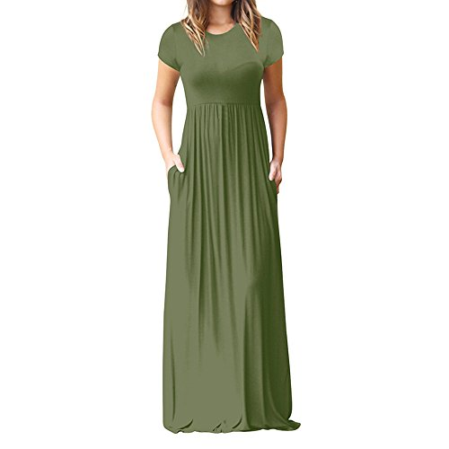 ★QueenBB★ Women's Short Sleeve Loose Plain Maxi Dresses Casual Long Dresses with Pockets Green