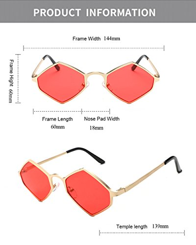 de de de color marca poligonal hombre con Diseñador lente pequeña para Gafas Rojo Eyewear de hombres amarillo estuche de para damas negro irregular de moda sol mujeres gafas EPgUvxnq