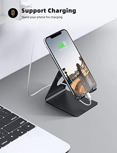 Lamicall Cell Phone Stand, Phone Dock: Cradle, Holder, Stand for Office Desk, Compatible with iPhone 11 Pro Xs Xs Max Xr X 8 7 6 6s Plus, All Android Smartphones Charging – Black (Non-Adjustable) 41M0RhPrdGL