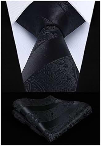 HISDERN Extra Long Floral Paisley Tie Handkerchief Men's Necktie & Pocket Square Set
