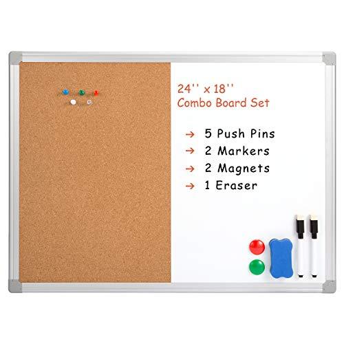 "Marble Field 24"" x 18"" Dry Erase & Cork Board Combo, Combination Whiteboard & Corkboard Wall Mounted Notice Bulletin Board with Aluminum Frame"