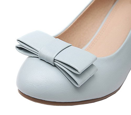 On Round Pull Blue Pu Pumps Closed Toe Kitten Solid Women's Shoes WeenFashion Heels pFxqwTOF