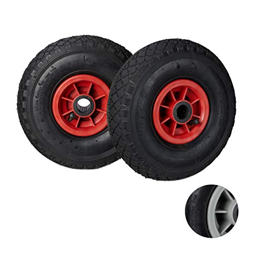 Axle Tyre - Relaxdays Set of 2 Sack Truck Wheel 3.00-4 Pneumatic Tyre Spare Wheel with Plastic Rim, 260 x 85 mm, Diameter Axle 25 mm, Black/Red