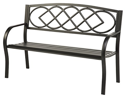 Cheap Celtic Knot Patio Garden Bench Park Yard Outdoor Furniture, Cast and Tubular Iron Metal, Powder Coat Black Finish, Classic Decorative Design, Easy Assembly 50 L x 17 1/2 W x 34 1/2 H