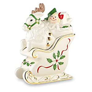 Lenox Holiday Reindeer and Sleigh Stackable Salt and Pepper Set
