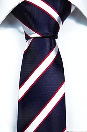 Slim necktie - Stripes in beige and pastel pink, white contours Notch