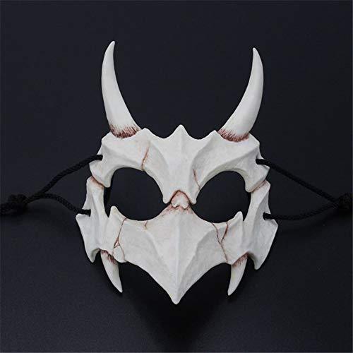 Halloween Mask Resin Mask Japanese Writer's Second Element Dress Up Dragon God Tiger Night Fork Props Mask,C]()