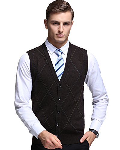 Kinlonsair Mens Button Cardigan Plain Sleeveless Sweater Vest Slim ...