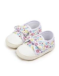 8a235b8bf6d49 Nagodu Zapatos Casual para Bebe niña Blancos con Flores de Colores y Velcro