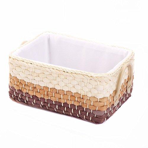 Natural Maize Storage Basket - KINGWILLOW, Storage Container,Mix Natural Orange &Brown Maize Storage Bins Rectangular Basket, Art & Craft, (Small).