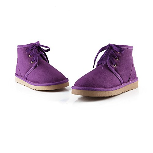 AmoonyFashion Womens Solid Low-Heels Round Closed Toe Imitated Suede Lace-Up Snow-Boots Purple XVhiE