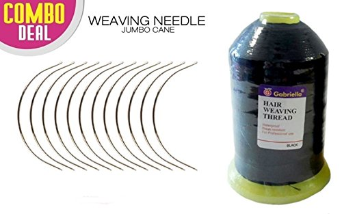 Crispy Collection 12 combo Deal Weaving Needle Jumbo Cane (NEEDLE AND 2000 METER THREAD (BLACK))