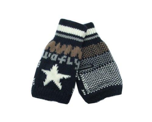PANDA SUPERSTORE Mens Winter Half-finger Knitted Gloves Workout/Exercise Thick Gloves Dark Blue