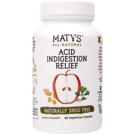Maty's All Natural Acid Indigestion Relief, 40 Vegetarian Capsules (Pack of 2)